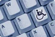 Keyboard key overlayed with disabled chair user with laptop on knee