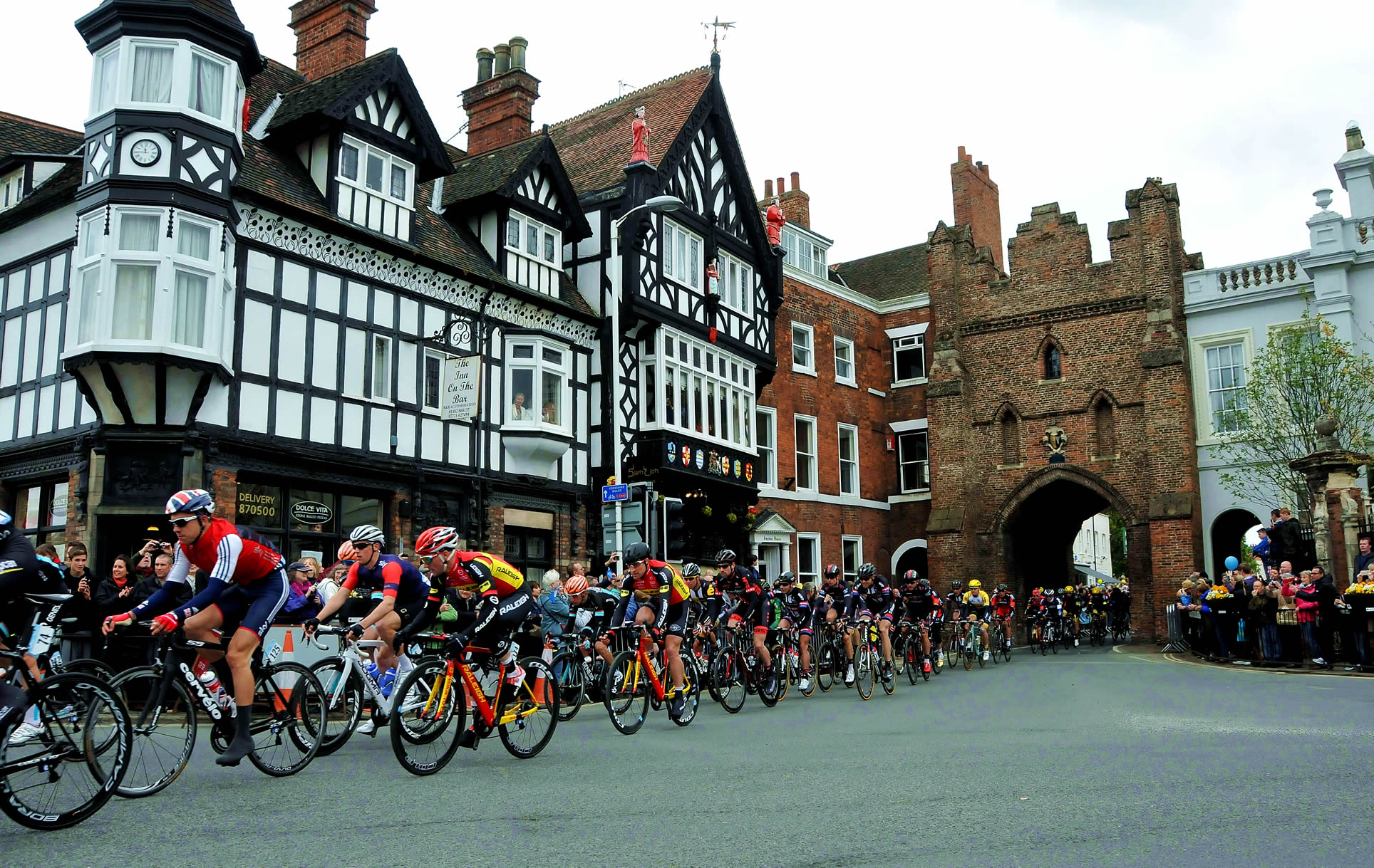 Tour de Yorkshire riders passing through North Bar in Beverley