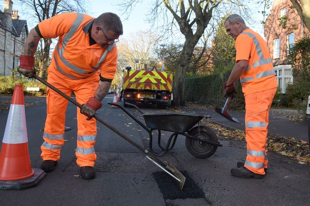 pothole filling session