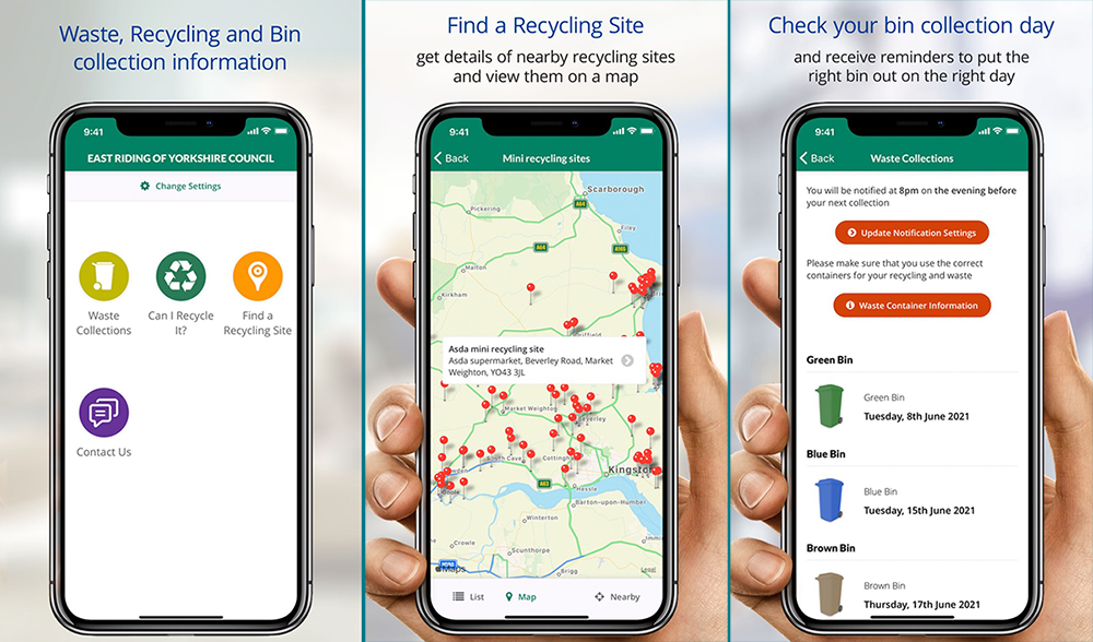 Image of person holding smart phone displaying screens from the East Riding App, including the Waste Recycling and Bin Collection page, the Find a Recycling Site map, and the check your Waste Collections tool
